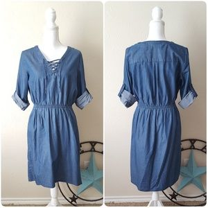 Mossimo Chambray Dress with Lace-Up Front